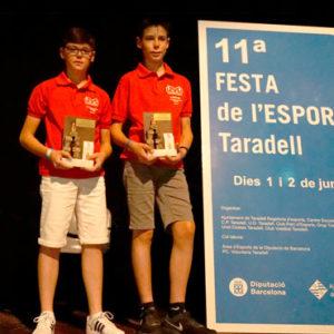 Ferran Serra i Jordi Tulleuda premiats per la seva temporada de trial a la Festa de l'Esport de Taradell
